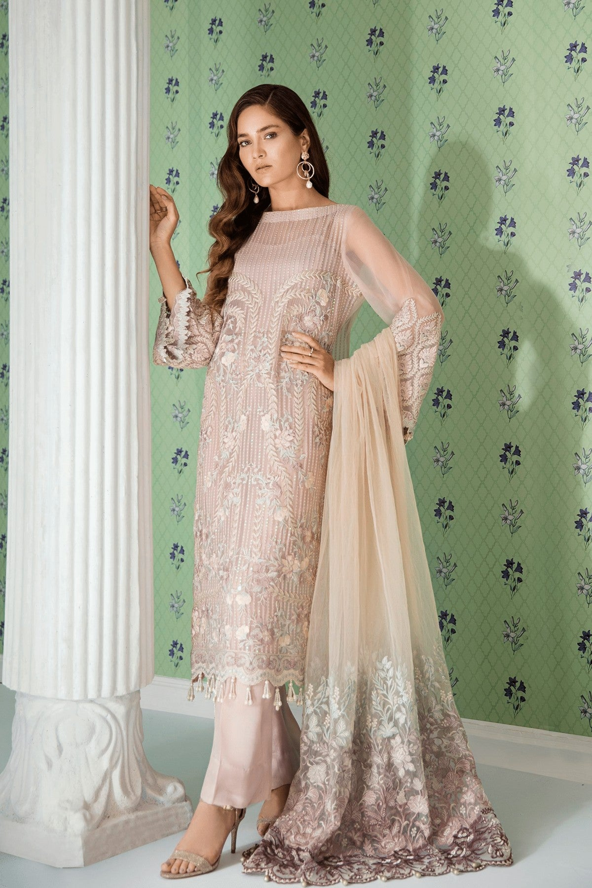 Chiffon Stitched Luxury Suit-5