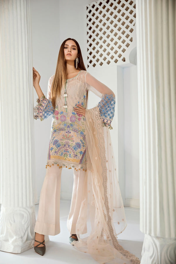 Chiffon Stitched Luxury Suit-6