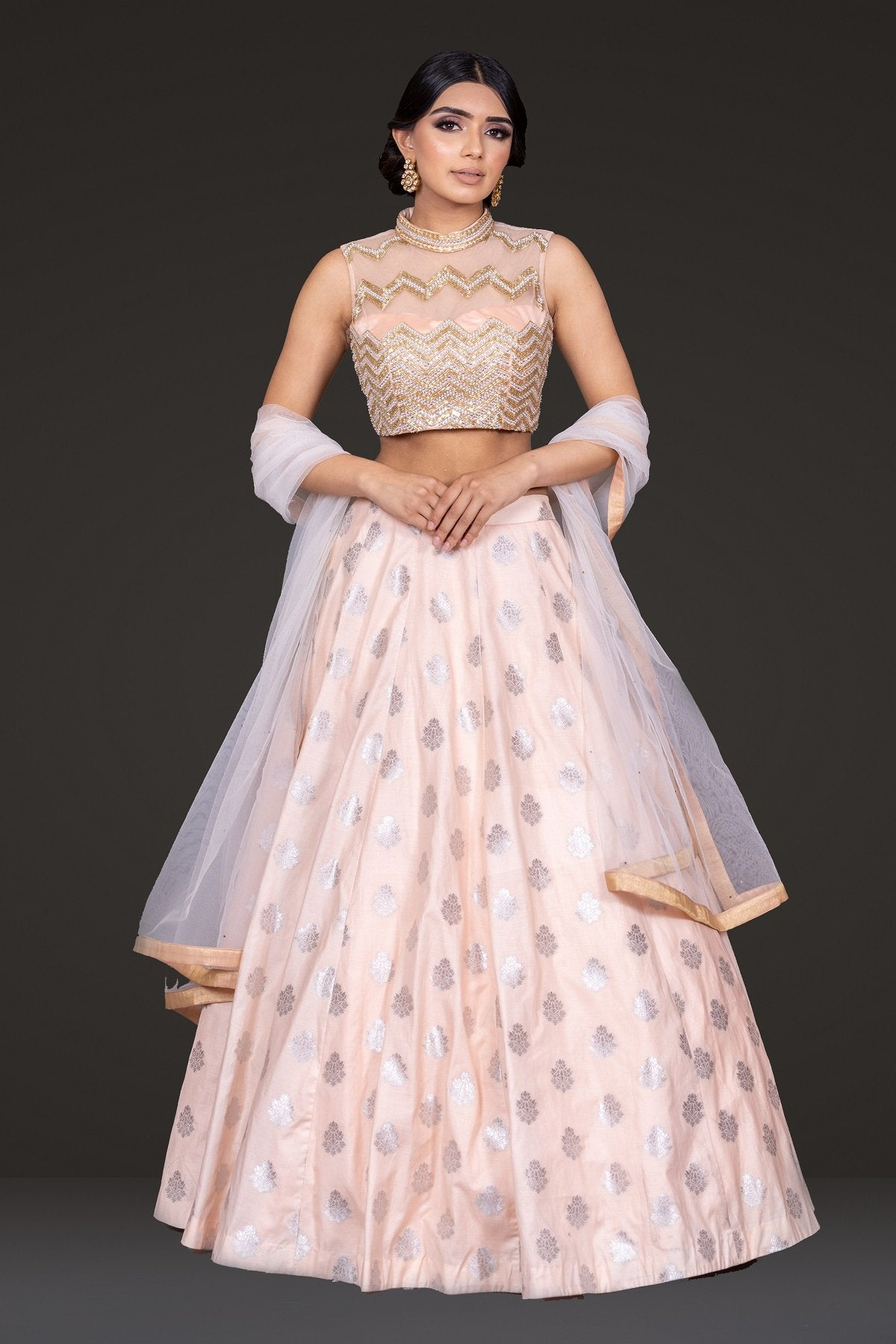 Peach Embroidered top with Skirt