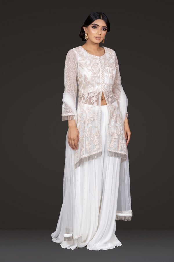 Ivory Embroidered Peplum Sharara