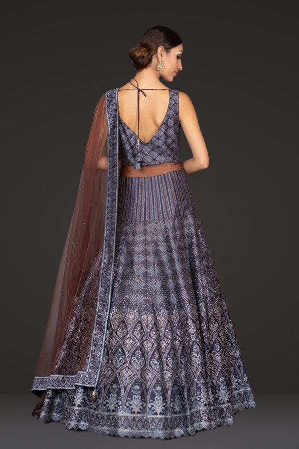 Digital printed Navy Gown