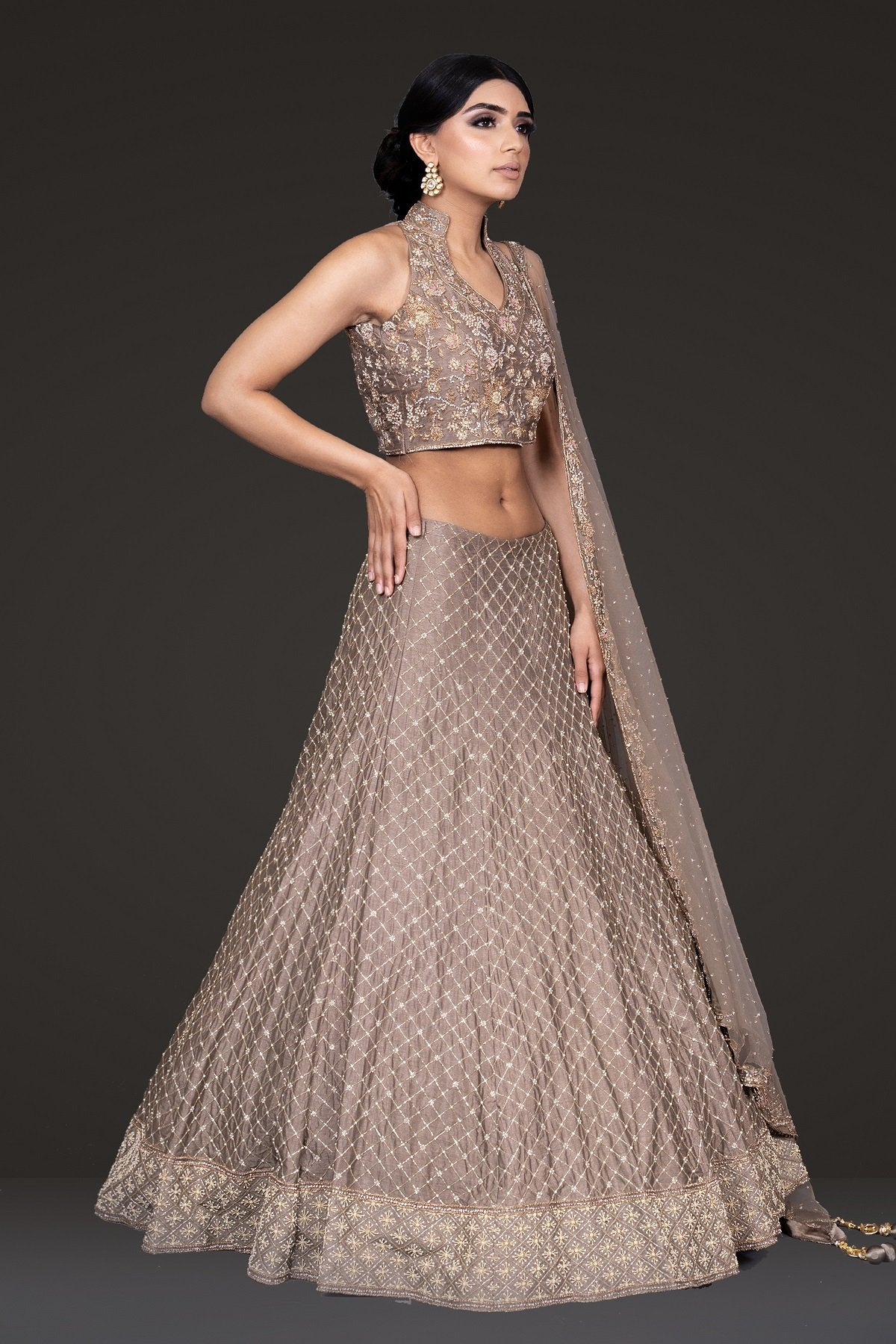 Halter Top Mouse Coloured Lehenga