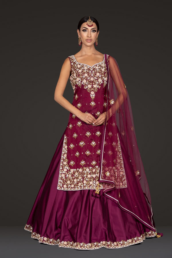 Burgundy Kameez and Skirt