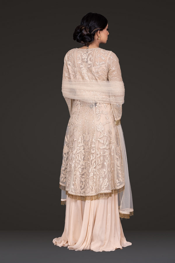 Beige Embroidered Peplum Sharara