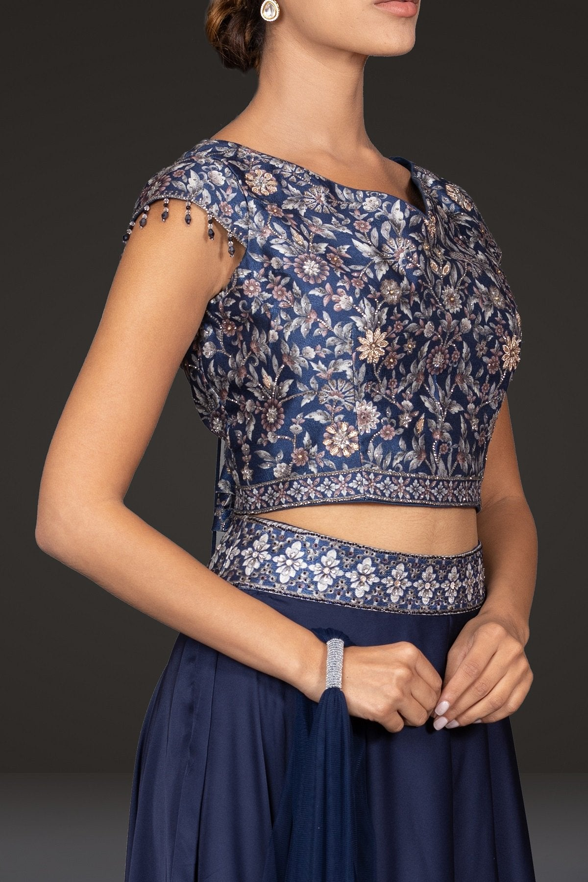Indo-western Digital Printed top with flaired stylish pants