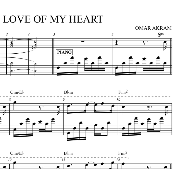 "Sheet Music - ""Love Of My Heart"