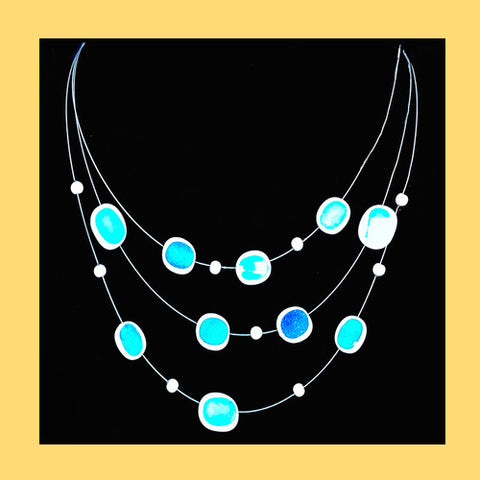Aqua Floating Enamel Necklace