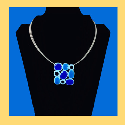Blue Squared Necklace