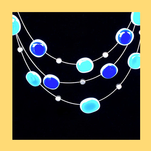 Blue Floating Enamel Necklace