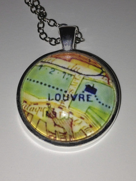 "Jewelry - Paris Pendant with Map of Louvre, 30"" chain in silver plate"