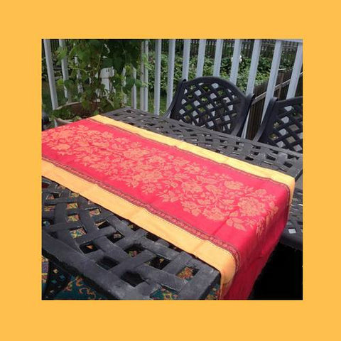 French red and yellow table runner
