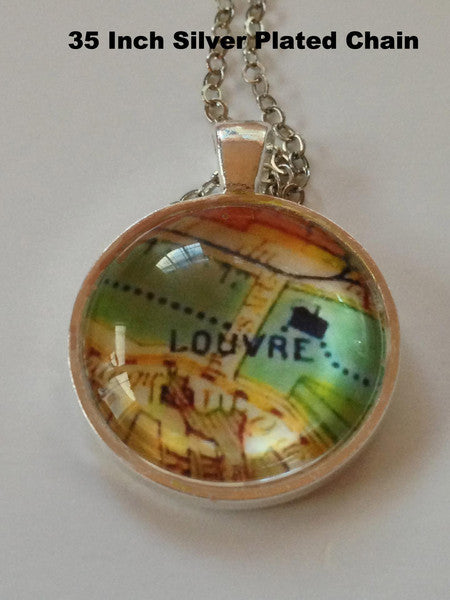 "Jewelry - Paris Pendant with Map of Louvre With 30"" Silver Plated Chain"