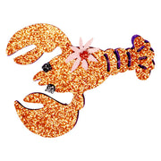 Broche homard orange paillettes - Rice