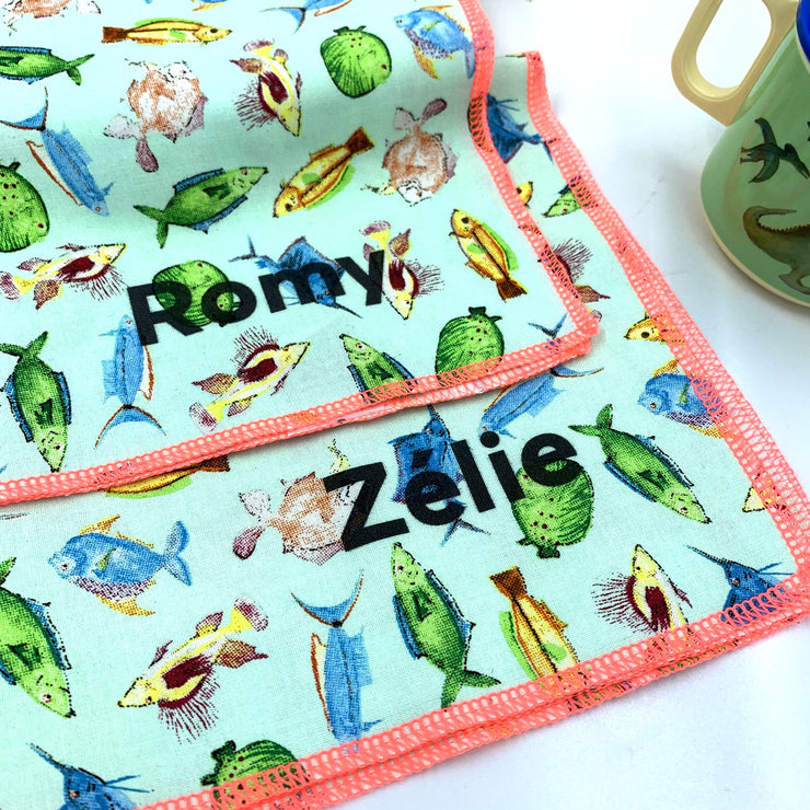 Serviettes de table à motif poisson - Rice - Lot de 2