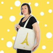 gold, or, tour eiffel, jaune, ville, paris, tote bag