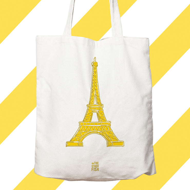 Paris, tour Eiffel, champs de mars, Trocadero, tower, ville lumiere, jaune, sac