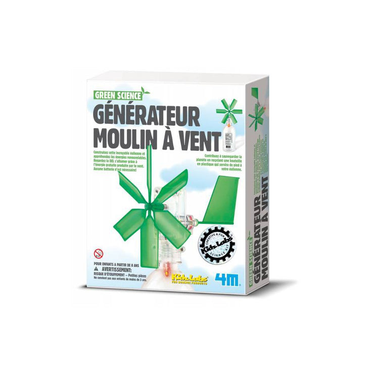 Kit Generateur Moulin a Vent - Green Science - Kidzlabs 4M - À partir de 8 ans