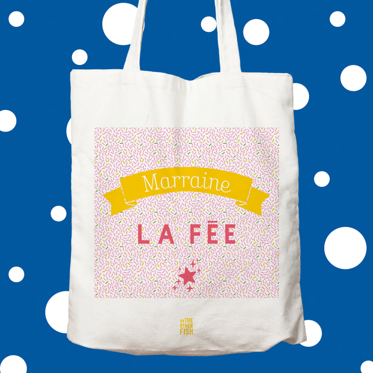 fée, marraine, rose, tote bag