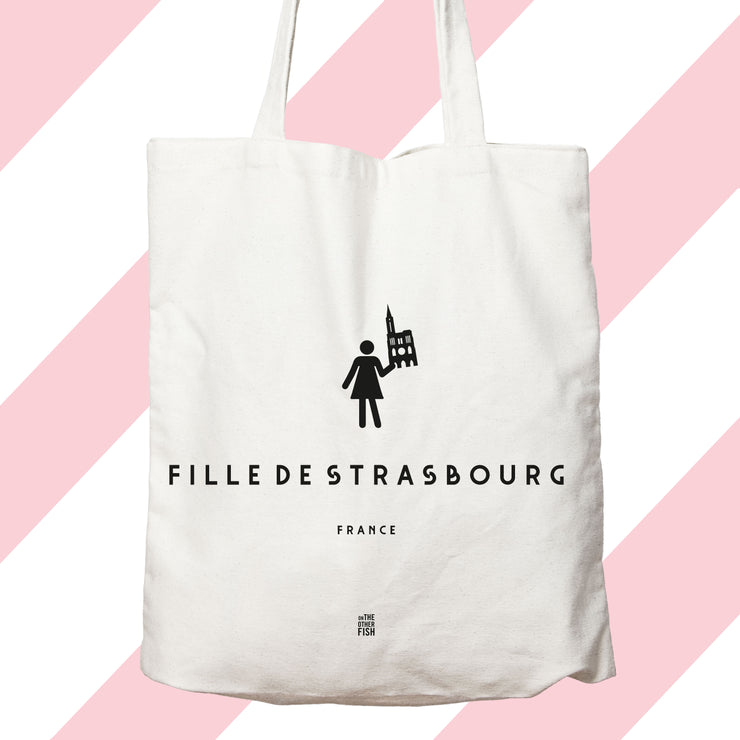 fille de, sac, tote bag, Paris, ville, square, quartier