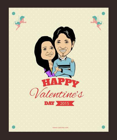 Always with you, personalized caricature valentine's cards for couple