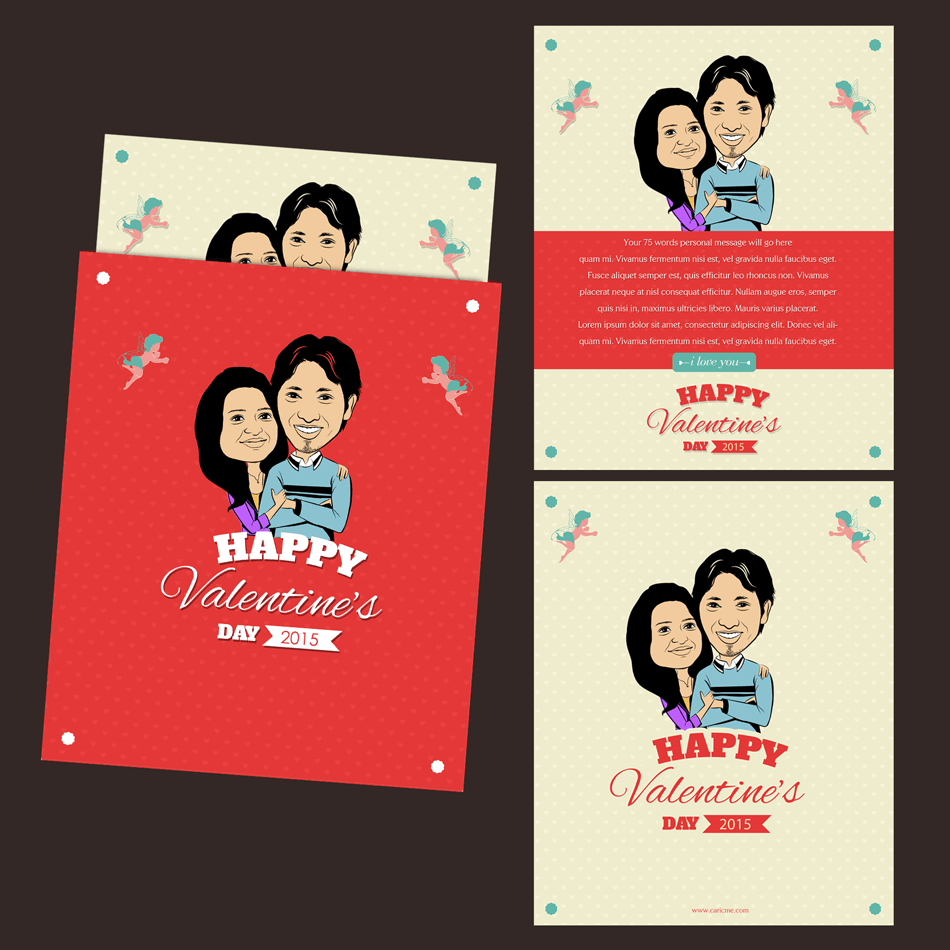 with you personalized caricature valentines cards for couple – Valentines Cards Personalized