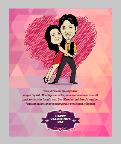 Colours of love, personalized caricature valentine's cards for couple