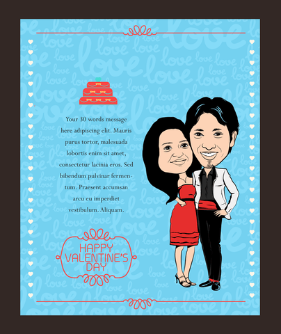 Love Dance, personalized caricature valentine's cards for couple