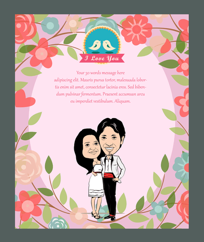 Love Garden, personalized caricature valentine's cards for couple