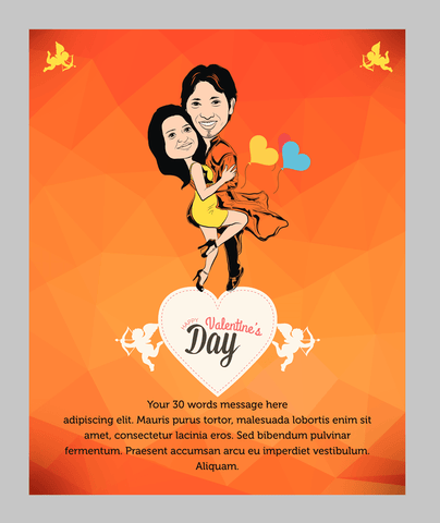 Love Saviour, personalized caricature valentine's cards for couple