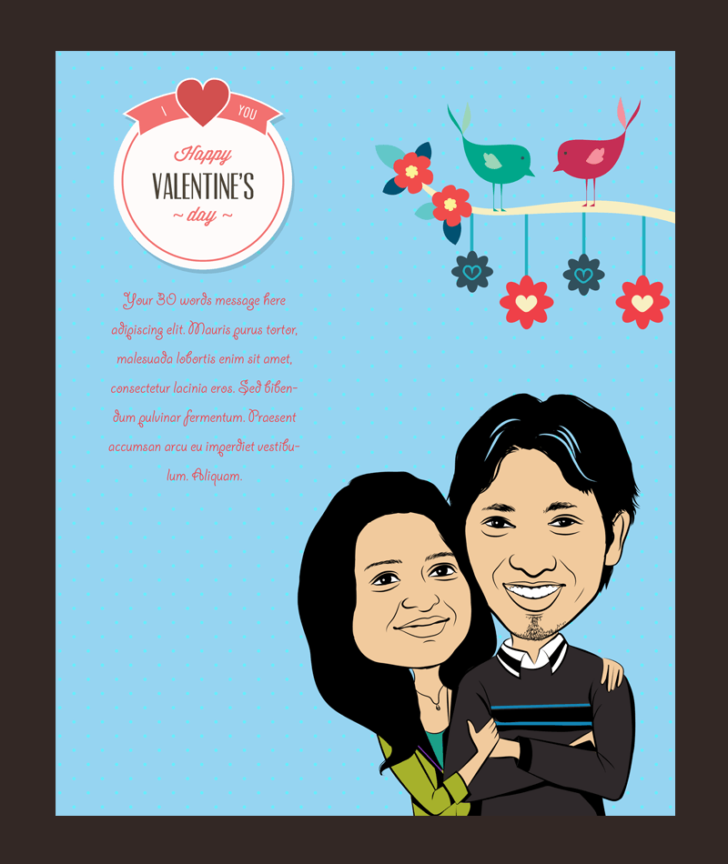 Love you always, personalized caricature valentine's cards for couple