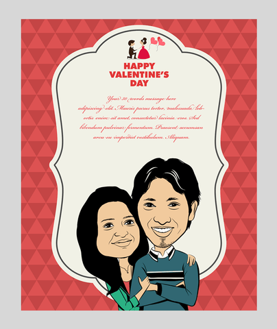 You are my life, personalized caricature valentine's cards for couple