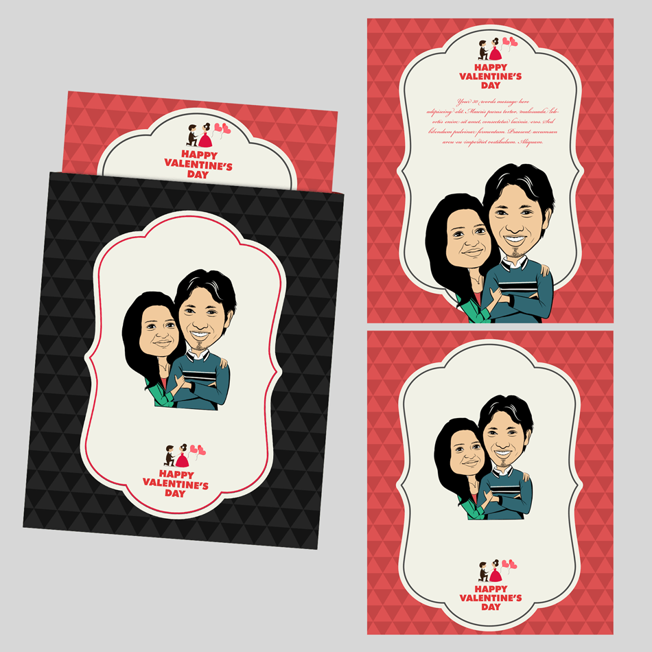 You are my life, personalized caricature valentine\'s cards for couple