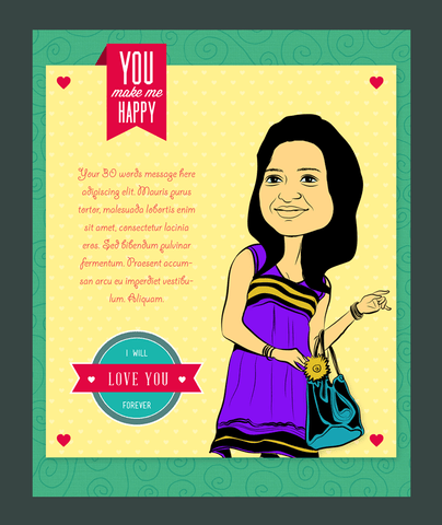 Beautiful smile, personalized caricature valentine's card for her
