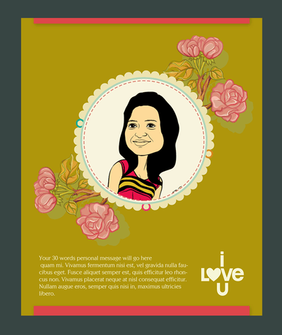 Lovely Roses, personalized caricature valentine's card for her
