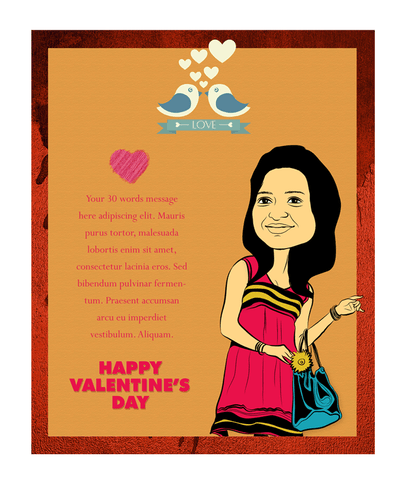 Love birds, personalized caricature valentine's card for girlfriend