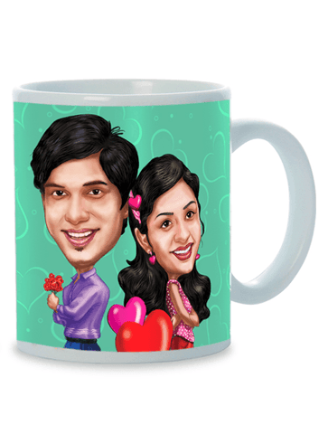 Better Together,  Personalized Caricature Mug for couple