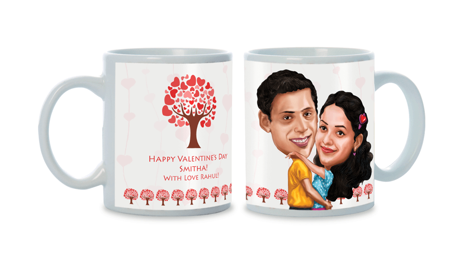 The Day We Fell In Love, Personalized Caricature Mug for couple