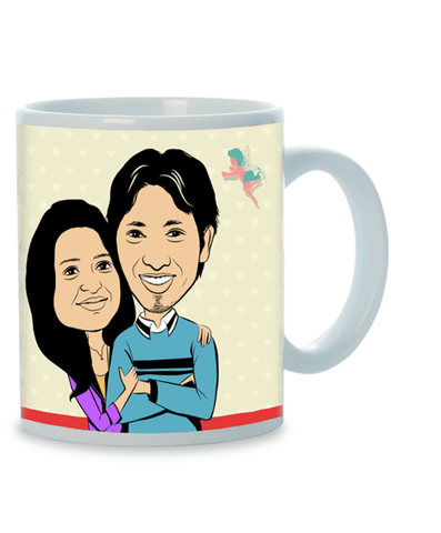 You're in My Heart, Personalized Caricature Mug for couple