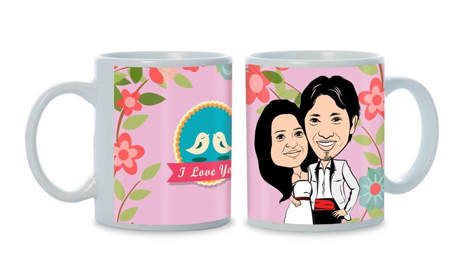 The one I was made for, personalized caricature mug for couple
