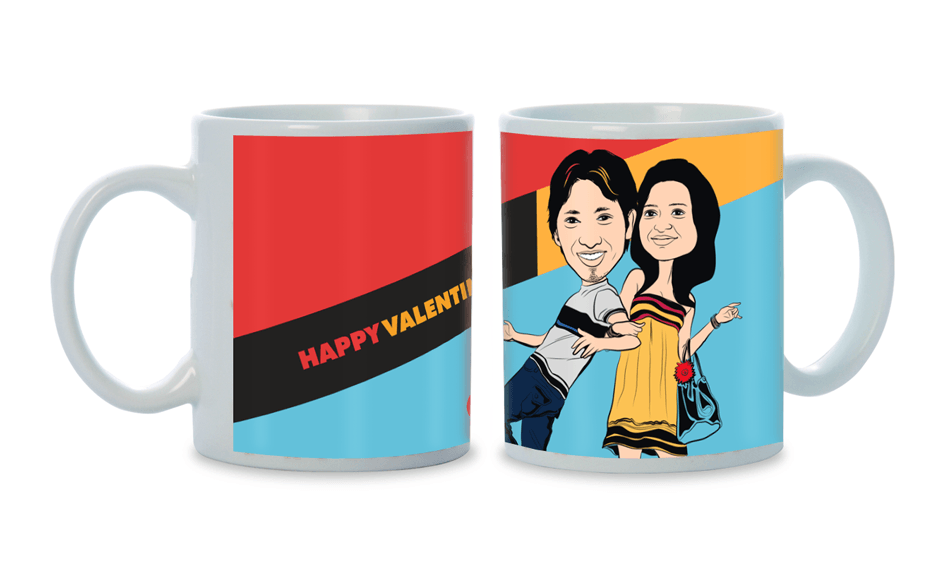Hugs and Kisses, Personalized Caricature Mug for couple