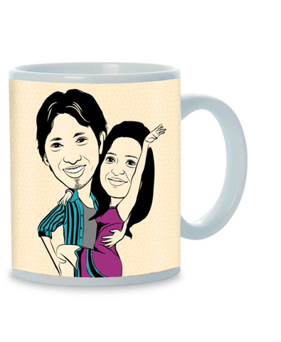Always in My Heart, Personalized Caricature Mug for couple