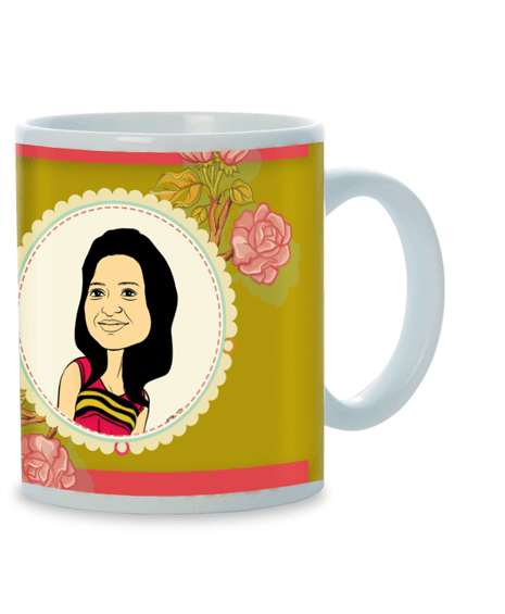 Forever Rose, Personalized Caricature Mug for her