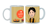 Two Become One, Personalized Caricature Mug for him