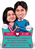 Perfect pair, personalized caricature valentine gift for couple