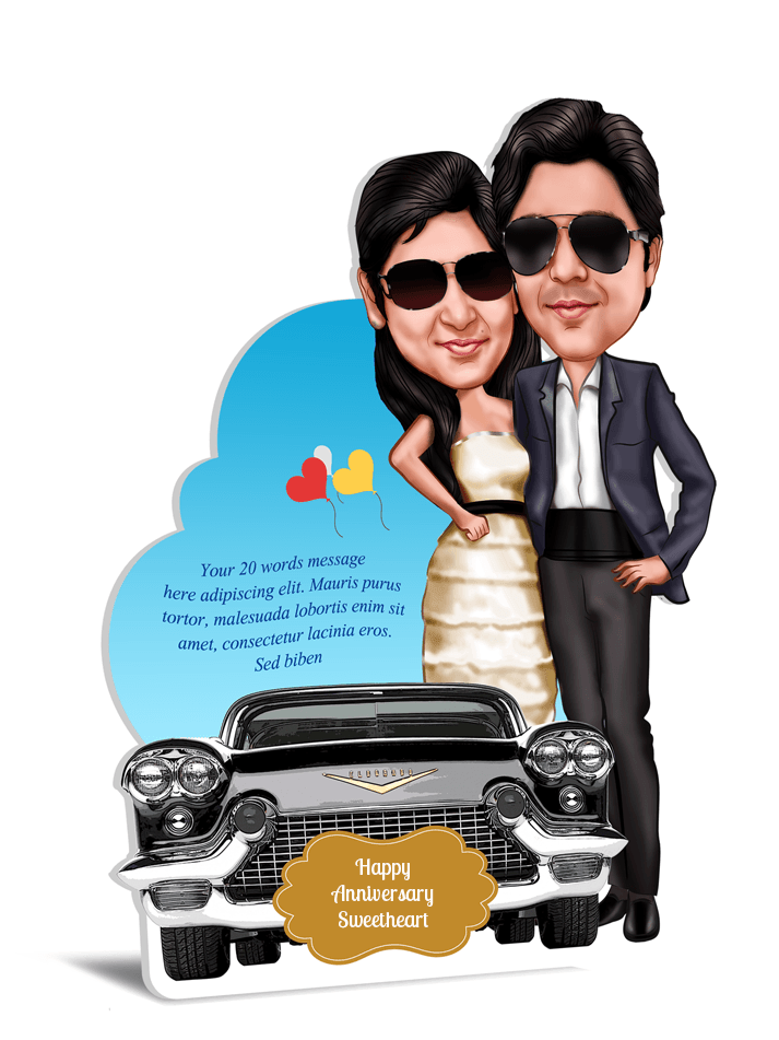A Perfect Fit, Personalized Caricature Valentine Gift for couple