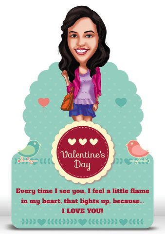 Sending You Love, Personalized Caricature Valentine Gift for girlfriend
