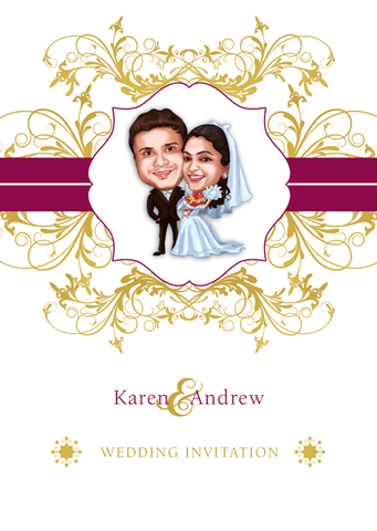 Golden Couple Personalized Caricature Wedding Card