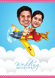 Caricature Wedding Invitation - Blooming Together
