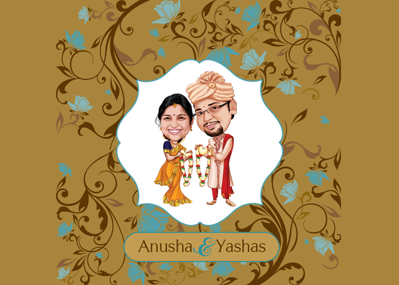 Sumptuous Swirls Caricature Wedding Card
