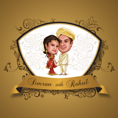 Perfectly Lovely Caricature Wedding Card